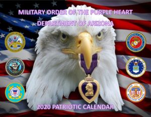 This is the cover page for a 2020 calendar with pictures of the Service Seals on each side of an American Eagle with a Purple Heart Medal in its beak with an American flag as the background image. There is a different patriotic image for each month.